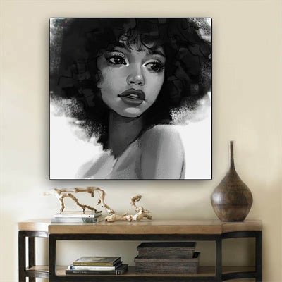 "BigProStore African American Wall Art Cute African American Woman Abstract African Wall Art Afrocentric Home Decor BPS20324 12"" x 12"" x 0.75"" Square Canvas"