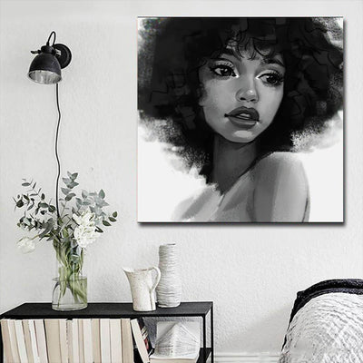 "BigProStore African American Wall Art Cute African American Woman Abstract African Wall Art Afrocentric Home Decor BPS20324 16"" x 16"" x 0.75"" Square Canvas"