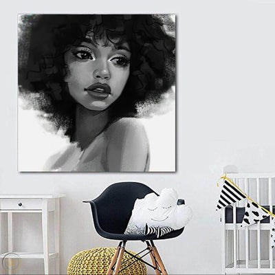 "BigProStore African American Wall Art Cute African American Woman Abstract African Wall Art Afrocentric Home Decor BPS20324 24"" x 24"" x 0.75"" Square Canvas"