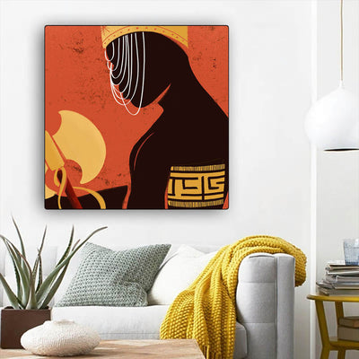 "BigProStore African American Wall Art Cute African American Woman African Black Art Afrocentric Living Room Ideas BPS55956 12"" x 12"" x 0.75"" Square Canvas"