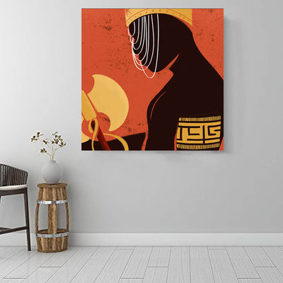 "BigProStore African American Wall Art Cute African American Woman African Black Art Afrocentric Living Room Ideas BPS55956 16"" x 16"" x 0.75"" Square Canvas"