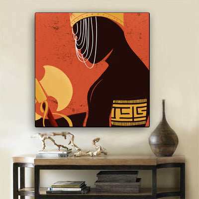 "BigProStore African American Wall Art Cute African American Woman African Black Art Afrocentric Living Room Ideas BPS55956 24"" x 24"" x 0.75"" Square Canvas"