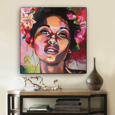 "BigProStore African American Wall Art Cute Afro American Girl Black History Artwork Afrocentric Wall Decor BPS79256 12"" x 12"" x 0.75"" Square Canvas"