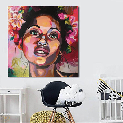 "BigProStore African American Wall Art Cute Afro American Girl Black History Artwork Afrocentric Wall Decor BPS79256 24"" x 24"" x 0.75"" Square Canvas"