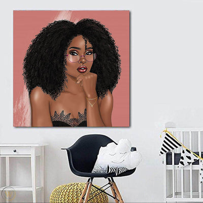 "BigProStore African American Wall Art Cute Afro Girl Black History Canvas Art Afrocentric Living Room Ideas BPS65124 24"" x 24"" x 0.75"" Square Canvas"