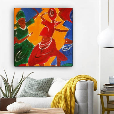 "BigProStore African American Wall Art Cute Black American Woman Abstract African Wall Art Afrocentric Home Decor Ideas BPS18147 12"" x 12"" x 0.75"" Square Canvas"
