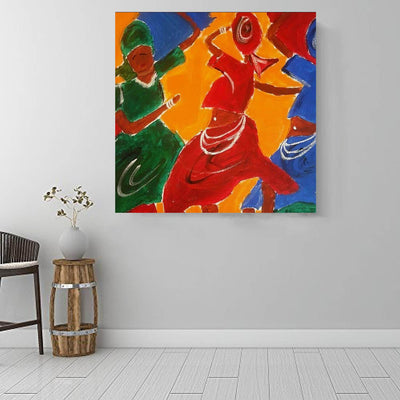 "BigProStore African American Wall Art Cute Black American Woman Abstract African Wall Art Afrocentric Home Decor Ideas BPS18147 16"" x 16"" x 0.75"" Square Canvas"