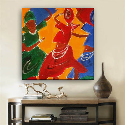 "BigProStore African American Wall Art Cute Black American Woman Abstract African Wall Art Afrocentric Home Decor Ideas BPS18147 24"" x 24"" x 0.75"" Square Canvas"