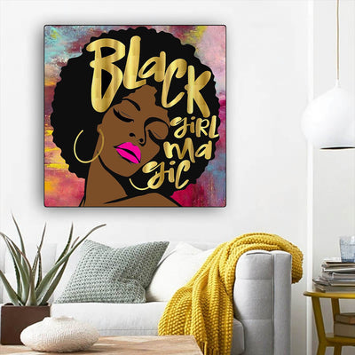 "BigProStore African American Wall Art Cute Black Girl African American Artwork On Canvas Afrocentric Wall Decor BPS36971 12"" x 12"" x 0.75"" Square Canvas"