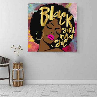 "BigProStore African American Wall Art Cute Black Girl African American Artwork On Canvas Afrocentric Wall Decor BPS36971 16"" x 16"" x 0.75"" Square Canvas"
