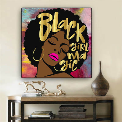 "BigProStore African American Wall Art Cute Black Girl African American Artwork On Canvas Afrocentric Wall Decor BPS36971 24"" x 24"" x 0.75"" Square Canvas"