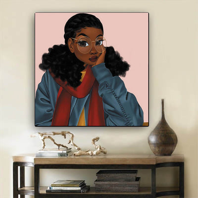 "BigProStore African American Wall Art Cute Black Girl African American Canvas Wall Art Afrocentric Living Room Ideas BPS14602 12"" x 12"" x 0.75"" Square Canvas"