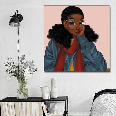"BigProStore African American Wall Art Cute Black Girl African American Canvas Wall Art Afrocentric Living Room Ideas BPS14602 16"" x 16"" x 0.75"" Square Canvas"