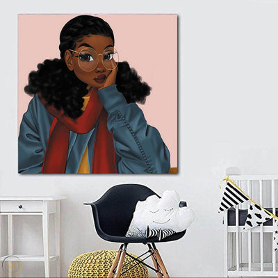 "BigProStore African American Wall Art Cute Black Girl African American Canvas Wall Art Afrocentric Living Room Ideas BPS14602 24"" x 24"" x 0.75"" Square Canvas"