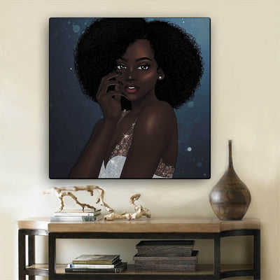 "BigProStore African American Wall Art Cute Black Girl African American Framed Wall Art Afrocentric Decorating Ideas BPS37008 12"" x 12"" x 0.75"" Square Canvas"