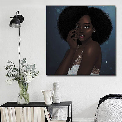"BigProStore African American Wall Art Cute Black Girl African American Framed Wall Art Afrocentric Decorating Ideas BPS37008 16"" x 16"" x 0.75"" Square Canvas"