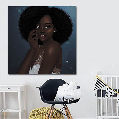 "BigProStore African American Wall Art Cute Black Girl African American Framed Wall Art Afrocentric Decorating Ideas BPS37008 24"" x 24"" x 0.75"" Square Canvas"