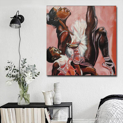 "BigProStore African American Wall Art Cute Melanin Girl Afro American Art Afrocentric Living Room Ideas BPS15420 16"" x 16"" x 0.75"" Square Canvas"