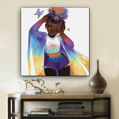"BigProStore African American Wall Art Cute Melanin Poppin Girl Black History Artwork Afrocentric Decor BPS75691 12"" x 12"" x 0.75"" Square Canvas"