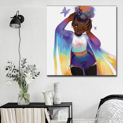 "BigProStore African American Wall Art Cute Melanin Poppin Girl Black History Artwork Afrocentric Decor BPS75691 16"" x 16"" x 0.75"" Square Canvas"