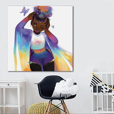 "BigProStore African American Wall Art Cute Melanin Poppin Girl Black History Artwork Afrocentric Decor BPS75691 24"" x 24"" x 0.75"" Square Canvas"