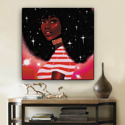 "BigProStore African American Wall Art Pretty African American Woman African American Artwork On Canvas Afrocentric Decorating Ideas BPS55214 12"" x 12"" x 0.75"" Square Canvas"