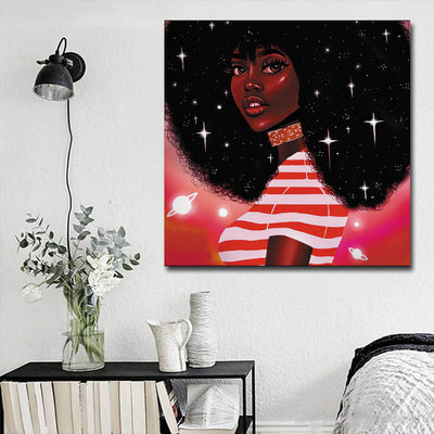 "BigProStore African American Wall Art Pretty African American Woman African American Artwork On Canvas Afrocentric Decorating Ideas BPS55214 16"" x 16"" x 0.75"" Square Canvas"