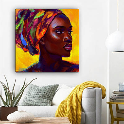 "BigProStore African American Wall Art Pretty African American Woman African American Canvas Wall Art Afrocentric Home Decor Ideas BPS47709 12"" x 12"" x 0.75"" Square Canvas"