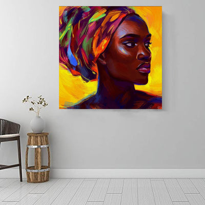 "BigProStore African American Wall Art Pretty African American Woman African American Canvas Wall Art Afrocentric Home Decor Ideas BPS47709 16"" x 16"" x 0.75"" Square Canvas"