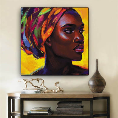 "BigProStore African American Wall Art Pretty Afro American Girl African American Abstract Art Afrocentric Living Room Ideas BPS58411 12"" x 12"" x 0.75"" Square Canvas"