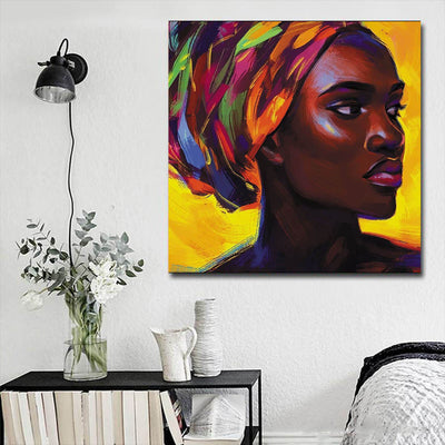 "BigProStore African American Wall Art Pretty Afro American Girl African American Abstract Art Afrocentric Living Room Ideas BPS58411 16"" x 16"" x 0.75"" Square Canvas"