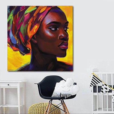 "BigProStore African American Wall Art Pretty Afro American Girl African American Abstract Art Afrocentric Living Room Ideas BPS58411 24"" x 24"" x 0.75"" Square Canvas"