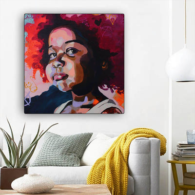 "BigProStore African American Wall Art Pretty Afro American Woman African American Artwork On Canvas Afrocentric Decor BPS68696 12"" x 12"" x 0.75"" Square Canvas"