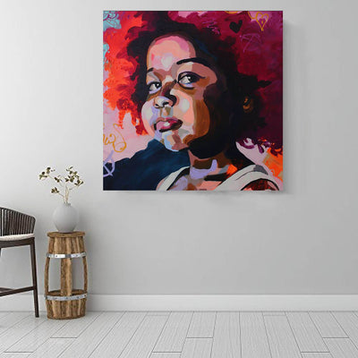 "BigProStore African American Wall Art Pretty Afro American Woman African American Artwork On Canvas Afrocentric Decor BPS68696 16"" x 16"" x 0.75"" Square Canvas"