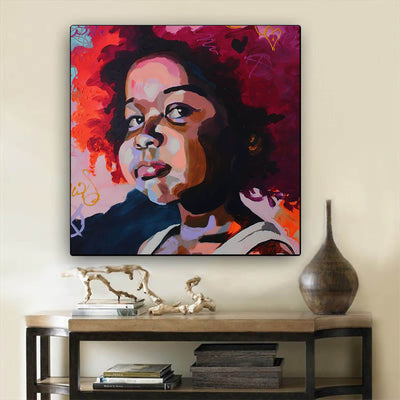 "BigProStore African American Wall Art Pretty Afro American Woman African American Artwork On Canvas Afrocentric Decor BPS68696 24"" x 24"" x 0.75"" Square Canvas"