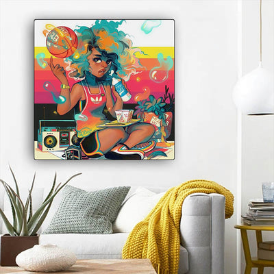 "BigProStore African American Wall Art Pretty Afro Girl African American Prints Afrocentric Home Decor BPS86512 12"" x 12"" x 0.75"" Square Canvas"