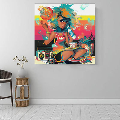 "BigProStore African American Wall Art Pretty Afro Girl African American Prints Afrocentric Home Decor BPS86512 16"" x 16"" x 0.75"" Square Canvas"