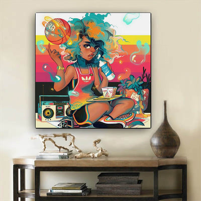"BigProStore African American Wall Art Pretty Afro Girl African American Prints Afrocentric Home Decor BPS86512 24"" x 24"" x 0.75"" Square Canvas"