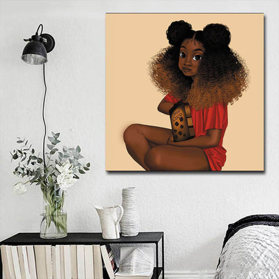 "BigProStore African American Wall Art Pretty Black Afro Girls Abstract African Wall Art Afrocentric Wall Decor BPS84335 16"" x 16"" x 0.75"" Square Canvas"