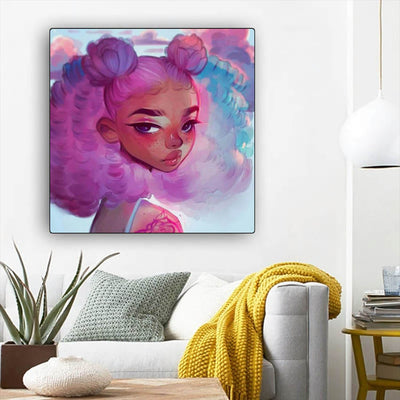 "BigProStore African American Wall Art Pretty Black Afro Girls African American Black Art Afrocentric Living Room Ideas BPS27597 12"" x 12"" x 0.75"" Square Canvas"