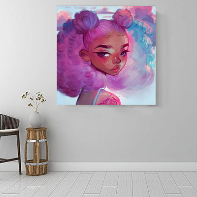 "BigProStore African American Wall Art Pretty Black Afro Girls African American Black Art Afrocentric Living Room Ideas BPS27597 16"" x 16"" x 0.75"" Square Canvas"