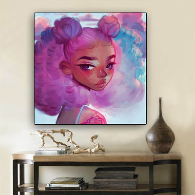 "BigProStore African American Wall Art Pretty Black Afro Girls African American Black Art Afrocentric Living Room Ideas BPS27597 24"" x 24"" x 0.75"" Square Canvas"