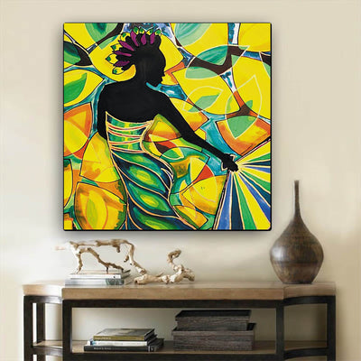 "BigProStore African American Wall Art Pretty Black American Girl African American Framed Wall Art Afrocentric Decor BPS21903 12"" x 12"" x 0.75"" Square Canvas"
