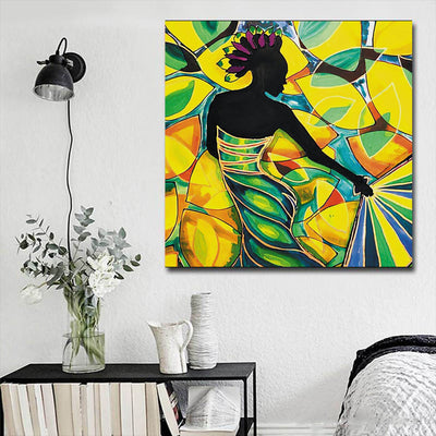 "BigProStore African American Wall Art Pretty Black American Girl African American Framed Wall Art Afrocentric Decor BPS21903 16"" x 16"" x 0.75"" Square Canvas"