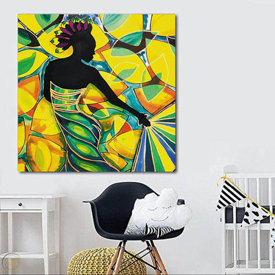 "BigProStore African American Wall Art Pretty Black American Girl African American Framed Wall Art Afrocentric Decor BPS21903 24"" x 24"" x 0.75"" Square Canvas"