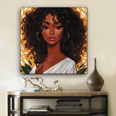 "BigProStore African American Wall Art Pretty Melanin Girl African American Canvas Wall Art Afrocentric Living Room Ideas BPS76304 12"" x 12"" x 0.75"" Square Canvas"