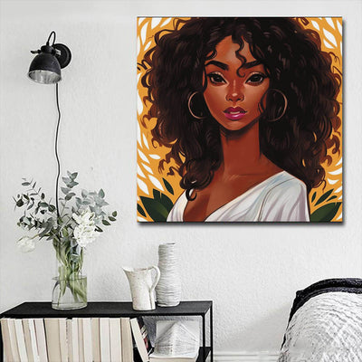 "BigProStore African American Wall Art Pretty Melanin Girl African American Canvas Wall Art Afrocentric Living Room Ideas BPS76304 16"" x 16"" x 0.75"" Square Canvas"
