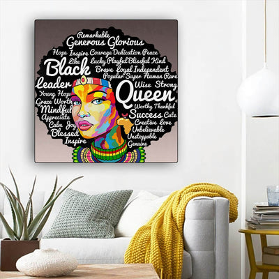 "BigProStore African Canvas Art Beautiful African American Female African American Black Art Afrocentric Home Decor BPS62760 12"" x 12"" x 0.75"" Square Canvas"