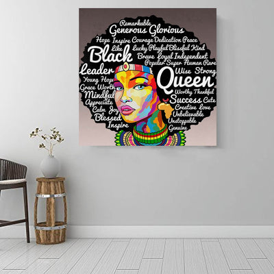 "BigProStore African Canvas Art Beautiful African American Female African American Black Art Afrocentric Home Decor BPS62760 16"" x 16"" x 0.75"" Square Canvas"