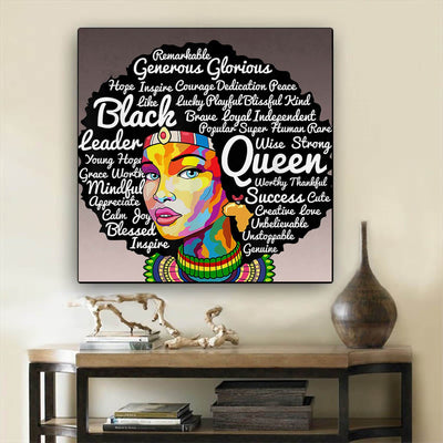 "BigProStore African Canvas Art Beautiful African American Female African American Black Art Afrocentric Home Decor BPS62760 24"" x 24"" x 0.75"" Square Canvas"